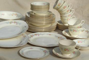Cashmere floral, vintage Homer Laughlin eggshell china dinnerware set for 8