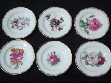 Chase hand-painted Japan vintage flowered china butter pat plates set