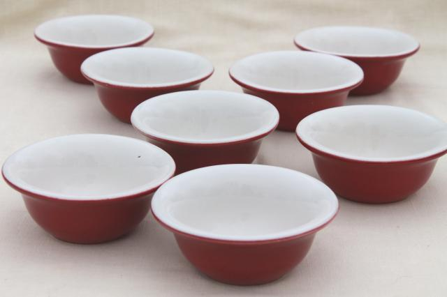Chefsware red & white ironstone bowls, vintage nantucket pink color small baking dishes