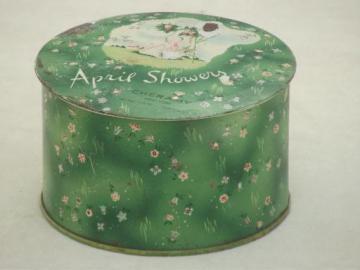 Cheramy 'french' powder box, vintage perfumed talc in metal litho tin