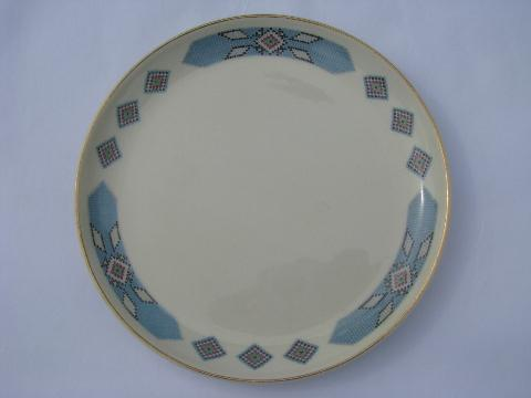 Cherokee indian bead pattern vintage Cavitt-Shaw W.S. George china plates