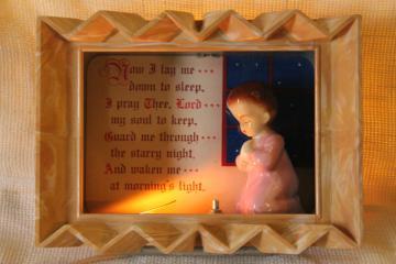 Child's Prayer nursery night light, mid-century vintage lighted shadowbox w/ figurine