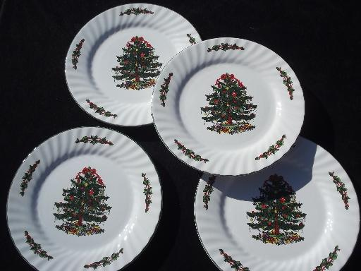 & China holiday dinner plates Christmas Village green and red tree