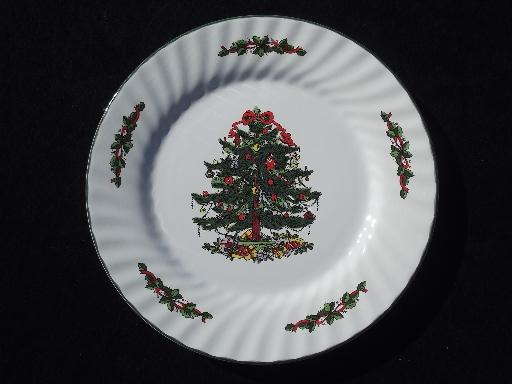 China holiday dinner plates, Christmas Village green and red tree