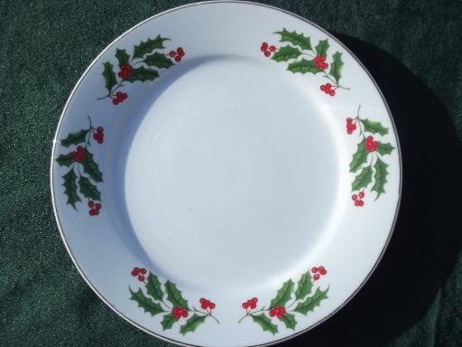 China holiday plates set, red and green Christmas holly border on white