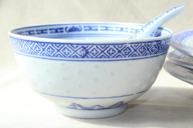 Chinese Blue White Rice Grain Porcelain Vintage Bowls Spoons Plates Made In China