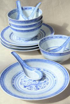 Chinese blue & white rice grain porcelain, vintage bowls, spoons, plates made in China