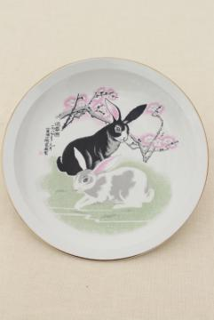 Chinese china plate w/ pair of rabbits, good luck year of the rabbit?