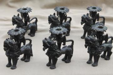 Chinese fu dog candle holders, old bronze foo dogs w/ black cast iron finish