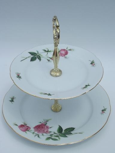 Christineholm Pink Rose Two Tier Serving Stand Tiered