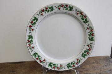 Christmas Charm holly Gibson china vintage large cake plate or round platter