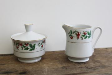 Christmas Charm holly border Gibson china vintage cream & sugar set