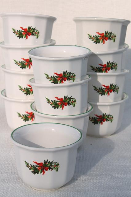 Christmas Heritage Pfaltzgraff large custard cups / creme brulee dishes set of 12