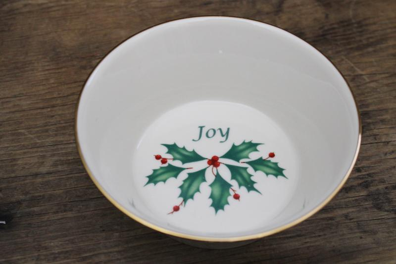 Christmas Holiday Joy Lenox china bowl or candy dish, green & red holly