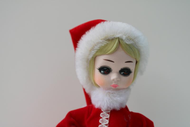 Christmas Santa girl Bradley big eyed doll 60s vintage, fun retro holiday decor