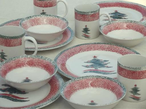 christmas star gibson sponge ware stoneware china dishes set for 4