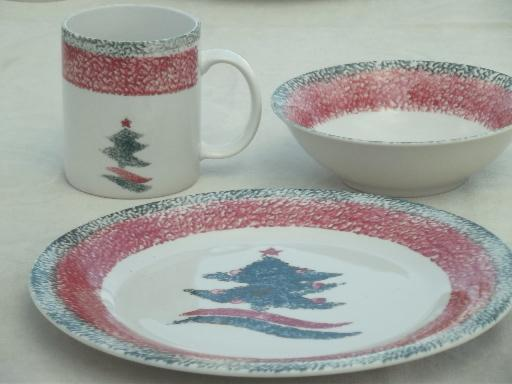 & Christmas Star Gibson sponge ware stoneware china dishes set for 4