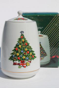 Christmas Treasure cookie jar w/ Christmas tree, 1980s Jamestown China - Japan