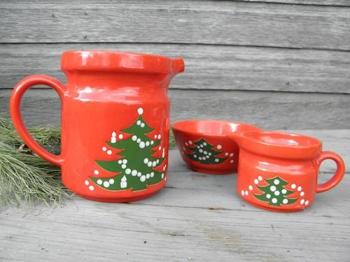 Christmas Tree milk pitcher, creamer and sugar cube bowl, Waechtersbach pottery