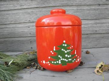Christmas Tree pattern Waechtersbach pottery, big cookie jar canister