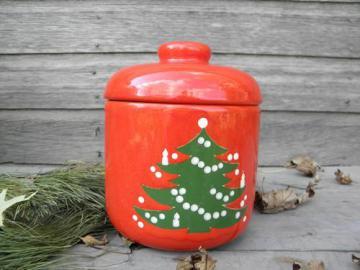 Christmas Tree pattern Waechtersbach pottery, canister / cookie jar