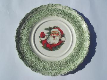 Christmas cake plate w/ Santa waving, vintage handmade ceramic platter