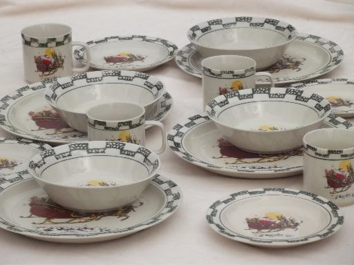 & Christmas china set w/ Santa in sleigh holiday stoneware dishes for 4