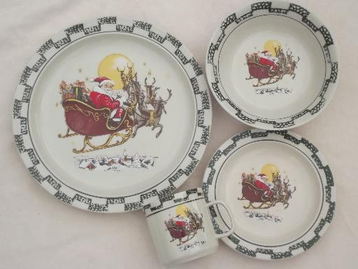 Christmas china set w/ Santa in sleigh, holiday stoneware dishes for 4