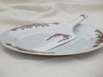 Christmas dishes fine china Poinsettia & Ribbons round cake platter set plate & server