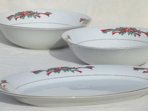 christmas dishes fine china poinsettia ribbons serving bowls platter