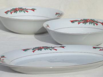 Christmas dishes fine china Poinsettia & Ribbons serving bowls & platter
