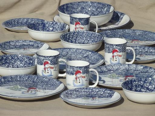 Christmas dishes set for 4, Thompson China winter snowmen spongeware