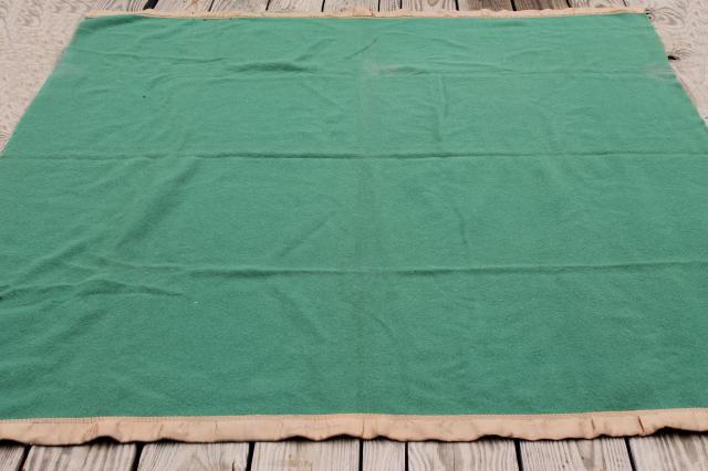 Christmas green wool blanket, 1950s vintage twin / full warm wooly bed blanket