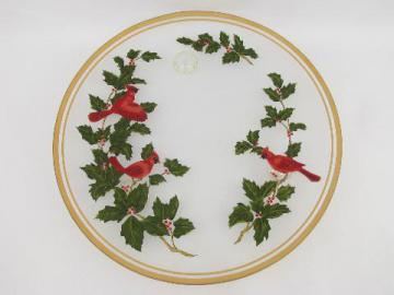 Christmas holiday footed cake plate, red cardinal birds on clear glass