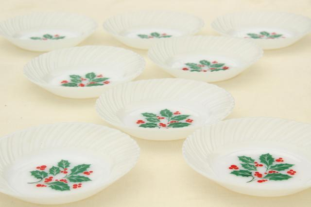 Christmas holly milk glass dishes holiday dinnerware set