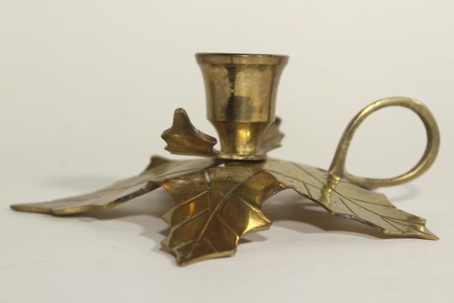 Christmas holly solid brass holiday candle holders, finger ring chamber candlesticks