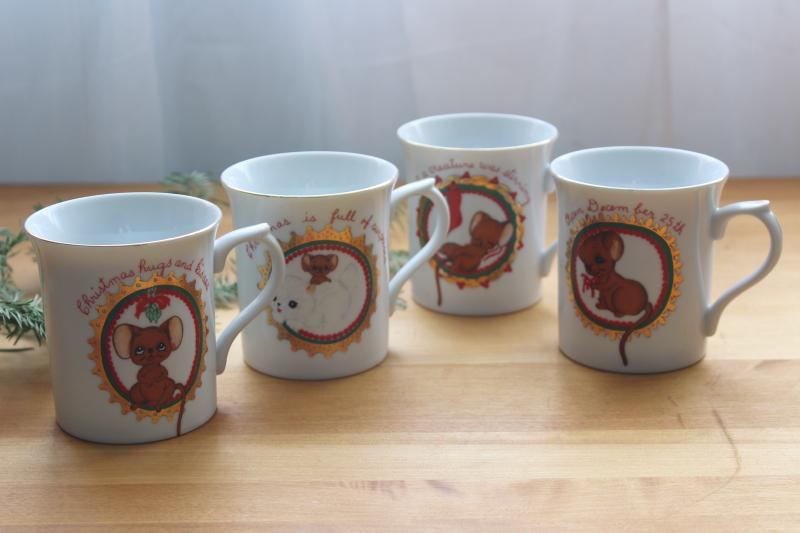 Christmas mice vintage Japan ceramic mugs, George Good big eyed mouse & kitty coffee cups
