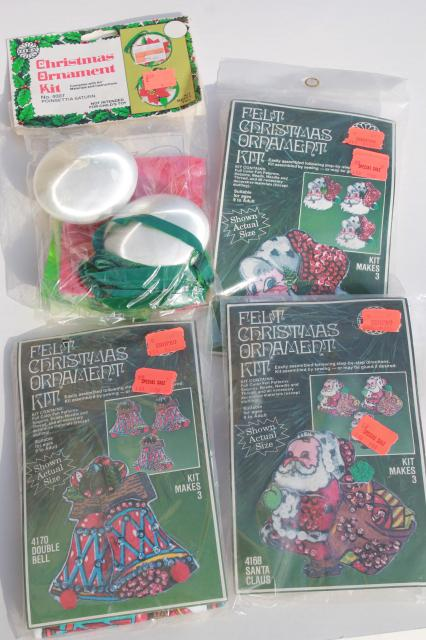 Christmas ornaments kits sealed packages satin balls felt shapes