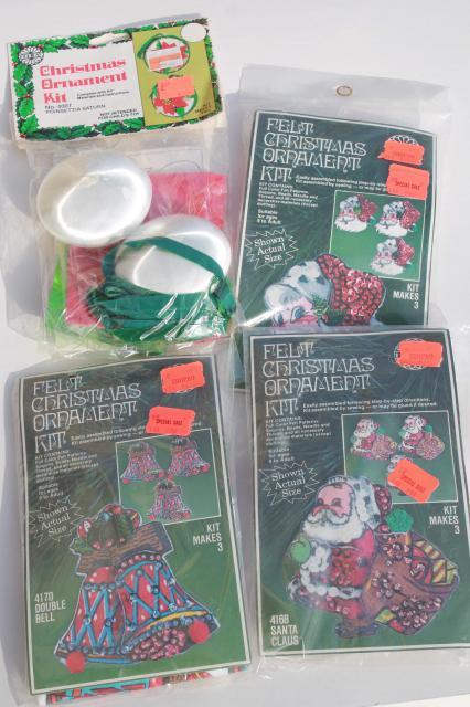 Christmas Ornaments Kits Sealed Packages Satin Balls Felt Shapes W