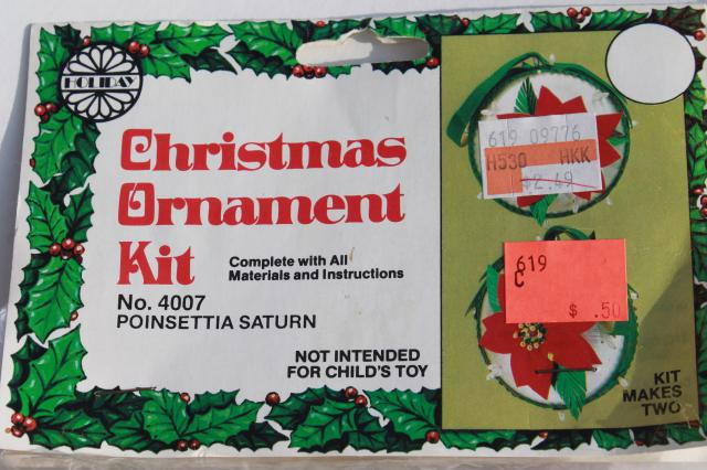 ornaments kits sealed packages satin balls felt shapes w beaded