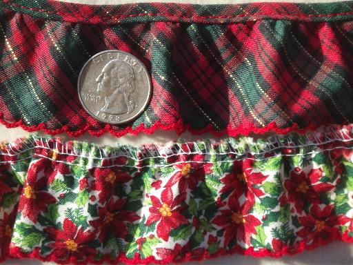 Christmas sewing trim lot, eyelet & plaid ruffle edgings & red & green lace