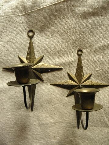 Christmas star etched solid brass wall sconces, candle sconce pair
