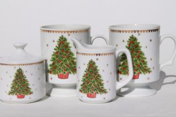 Christmas tree china coffee mugs, cream & sugar set, Lorrie label vintage Japan