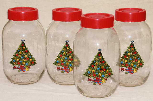 Christmas tree holiday kitchen canister set, Carlton glass gallon jar canisters
