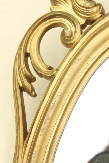 Cinderella french brocante style vintage wall mirror, gold rococo frame w/ oval glass
