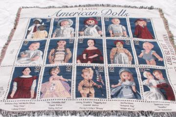 Classic American Dolls USPS postage stamps 90s vintage woven cotton throw blanket