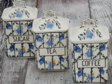 Coffee, Tea and Sugar old antique blue and white china canister jars