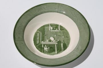 Colonial Homestead green & white transferware serving bowl, vintage Royal china