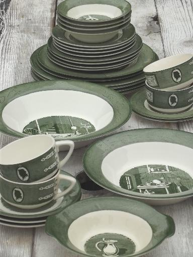 Colonial Homestead green u0026 white transferware vintage Royal china dishes & Colonial Homestead green u0026 white transferware vintage Royal china ...