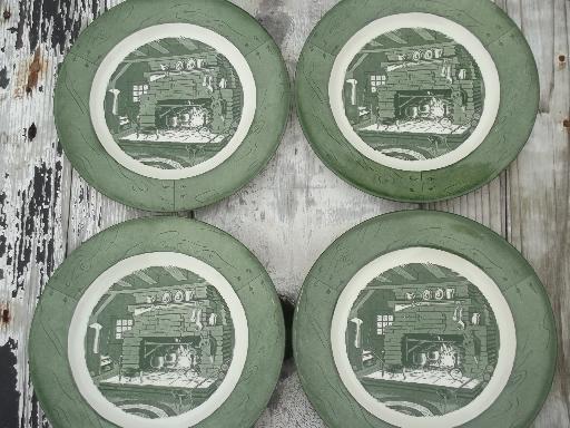 Colonial Homestead green u0026 white transferware vintage Royal china dishes & Colonial Homestead green u0026 white transferware vintage Royal china ...